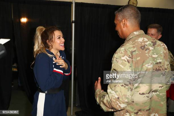 S General Vincent Brooks and Singer Rachel Platten attend the Team USA WinterFest Presented by Hershey's on February 19 2018 in Seoul South Korea