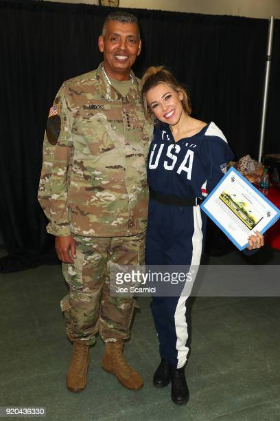 S General Vincent Brooks and Singer Rachel Platten pose for a photo at the Team USA WinterFest Presented by Hershey's on February 19 2018 in Seoul...