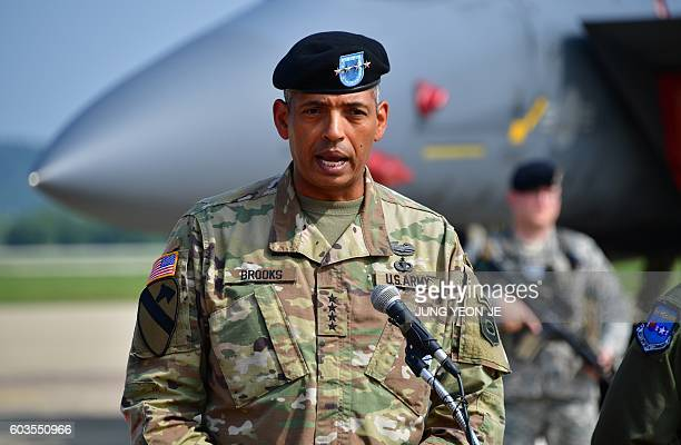 US General Vincent K Brooks Commander of the United Nations Command Combined Forces Command and United States Forces Korea speaks during a press...