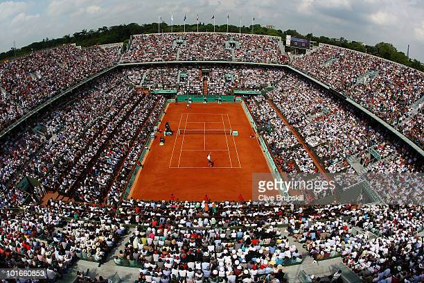 General vire of Philippe Chatrier court during the men's singles final match between Robin Soderling of Sweden and Rafael Nadal of Spain on day...