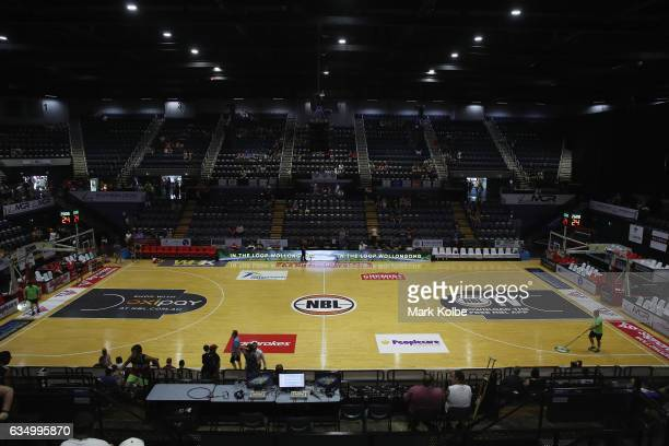 General viw of the court is seen before the round 19 NBL match between the Illawarra Hawks and the Brisbane Bullets at Wollongong Entertainment...