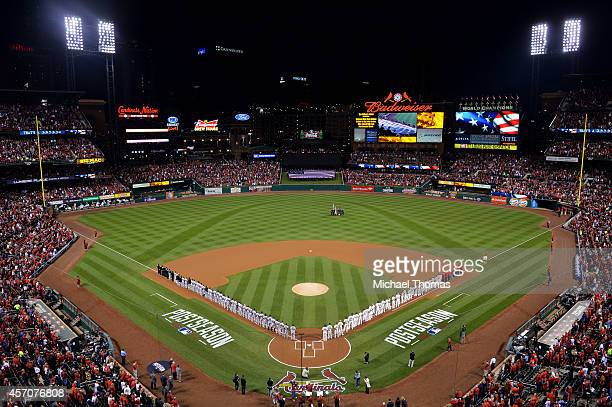 A general voew during pregame ceremonies for Game One of the National League Championship Series between the St Louis Cardinals and the San Francisco...