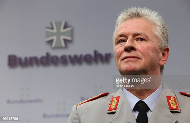 General Volker Wieker attends his inauguration ceremony as new Chief of Staff of the German military the Bundeswehr at the Ministry of Defense on...