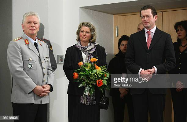 General Volker Wieker his wife Sabine and Defense Minister KarlTheodor zu Guttenberg attend Wieker's inauguration ceremony as new Chief of Staff of...