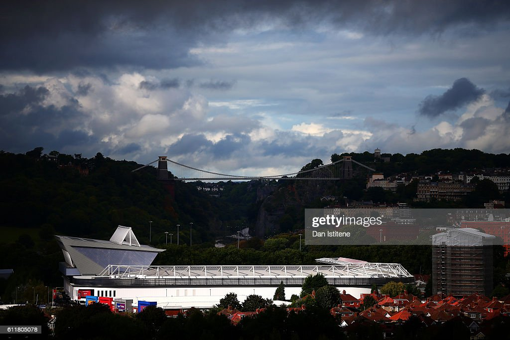 A general vview of the stadium backdropped by Isambard Kingdom Brunel's Clifton Suspension Bridge during the Sky Bet Championship match between Bristol City and Nottingham Forest at Ashton Gate on October 1, 2016 in Bristol, England.