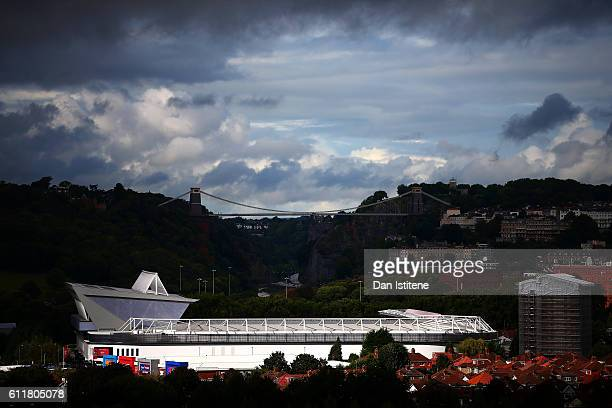 A general vview of the stadium backdropped by Isambard Kingdom Brunel's Clifton Suspension Bridge during the Sky Bet Championship match between...
