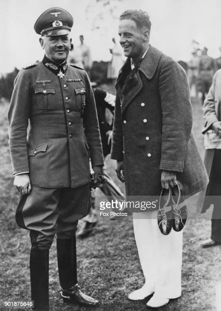 General Werner Von Blomberg of the German Armed Forces with athlete Gotthard Handrick at the Summer Olympics in Berlin Germany June 1936