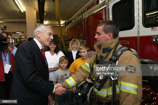 General Wesley Clark campaigns at the Manchester fire station during his first campaign trip to New Hampshire
