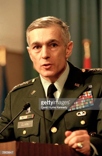 General Wesley Clark Commander in Chief US European Command and Supreme Allied Commander in Europe NATO speaks during a meeting with Secretary...
