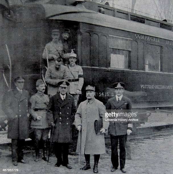 General Weygand Admiral wemyss and Marshall Foch after signing the armistice with Germany to mark the end of world war One The ceremony was carried...