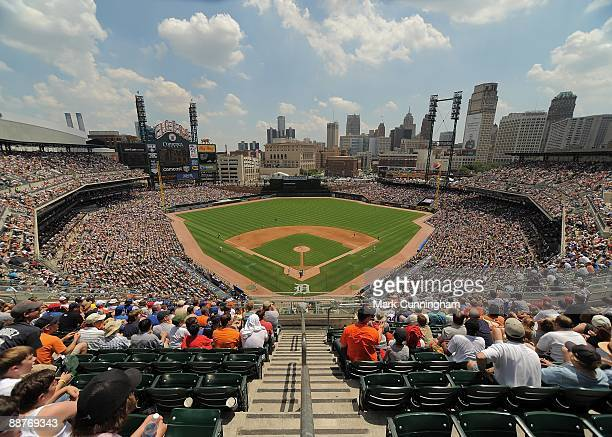 General wide angle view of Comerica Park during the game between the Chicago Cubs and the Detroit Tigers on June 25 2009 in Detroit Michigan The...