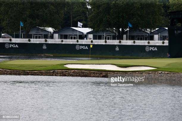 General wide angle view of the 17th hole seen during the third practice round of the PGA Championship on August 9, 2017 at Quail Hollow Club in...