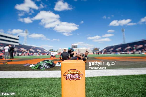 General wide angle view of the Reese's Senior Bowl logo on January 30 2016 at LaddPeebles Stadium in Mobile Alabama