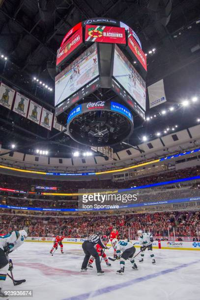 A general wide view of a faceoff during a game between the Chicago Blackhawks and the San Jose Sharks on February 23 at the United Center in Chicago...