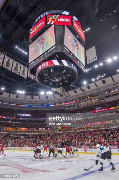 A general wide view of faceoff during a game between the Chicago Blackhawks and the San Jose Sharks on February 23 at the United Center in Chicago IL...