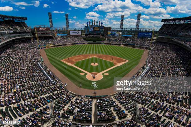 A general wide view of the field during a game between the Texas Rangers and the Chicago White Sox on July 1 at Guaranteed Rate Field in Chicago IL
