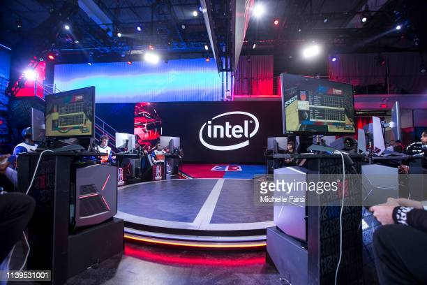 A general wideshot displays the INTEL logo in the studio during the game between Knicks Gaming and Magic Gaming during Week 3 of the NBA 2K League...