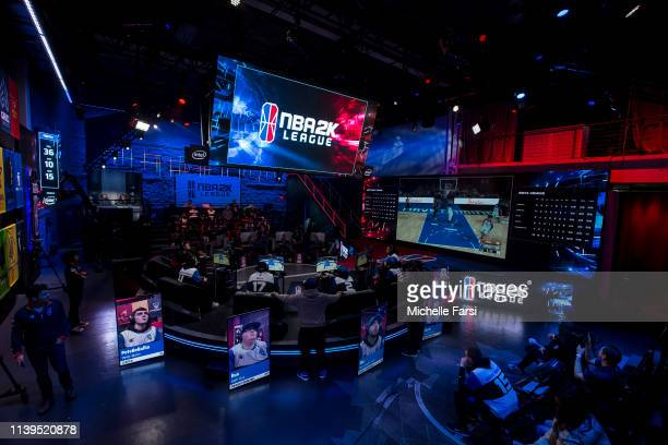 A general wideshot of the studio as seen during the game between Heat Check Gaming and Mavs Gaming during Week 3 of the NBA 2K League regular season...