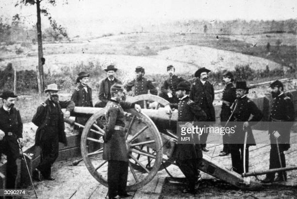 General William Tecumseh Sherman and members of his staff before the siege of Atlanta Georgia