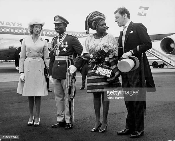 General Yakuba Gowan Nigerian Head of State meeting Princess Alexandria and her husband Angus Ogilvy at London Airport June 12th 1973