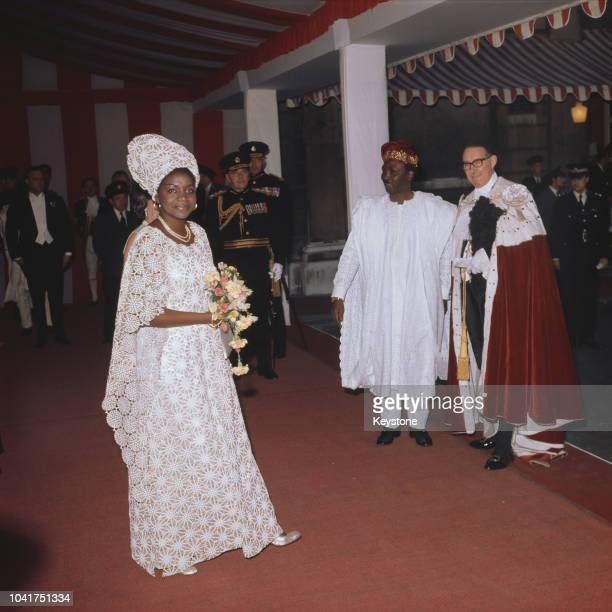 General Yakubu Gowon the Head of State of Nigeria attends a dinner hosted by Alan Mais the Lord Mayor of London at the Guildhall in London 1973...