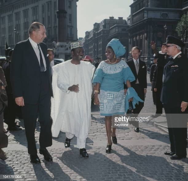 General Yakubu Gowon the Head of State of Nigeria visits Westminster Abbey in London with his wife 1973
