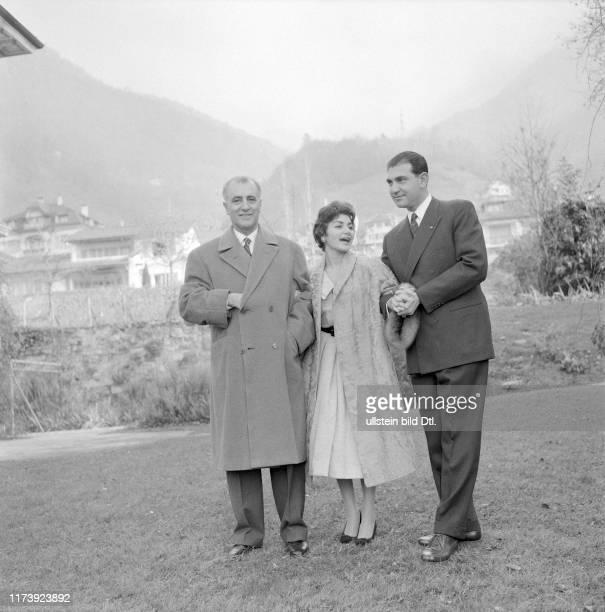 General Zahedi Princess Shahnaz of Persia and Ardeshir Zahedi Montreux 1957