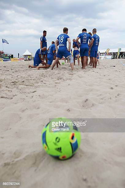 A generale view during the first round match between Rostocker Robben and Hertha BSC Berlin on day 1 of the 2016 German Beach Soccer Championship on...