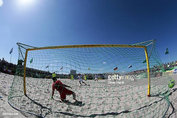 A generale view during the semi final match between Ibbenbuerener BSC and Rostocker Robben on day 2 of the 2016 German Beach Soccer Championship on...