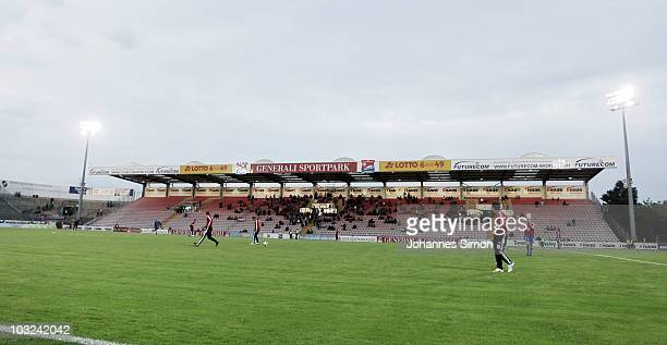 Generali Sportpark stadium is shown during the 3Liga match between SpVgg Unterhaching and Rot Weiss Ahlen at the Generali Sportpark on August 3 2010...