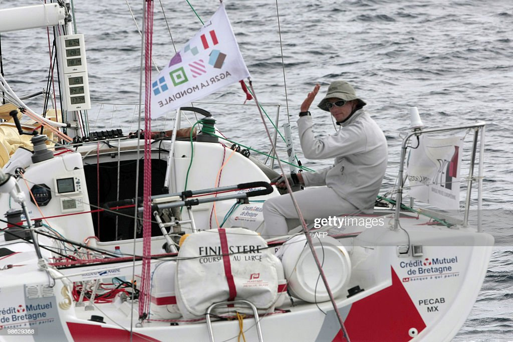 'Generali-Europ Assistance' monohull skipped by French pair Yann Elies and Jeremie Beyou sail off on April 22, 2010, during the AG2R La Mondiale sailing race between Concarneau and Saint-Barthelemy (French west indies). 25 boats started from Concarneau on April 18.