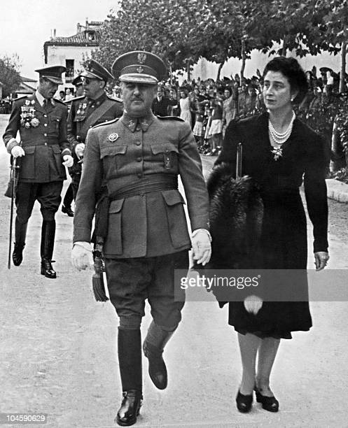 Generalissimo Francisco Franco and his wife during a parade somewhere in Spain in 1943