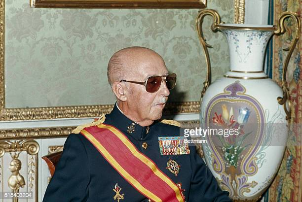 Generalissimo Francisco Franco in this 10/9/75 color photo has cancelled official meetings he had scheduled because of a cold he had caught 10/17...