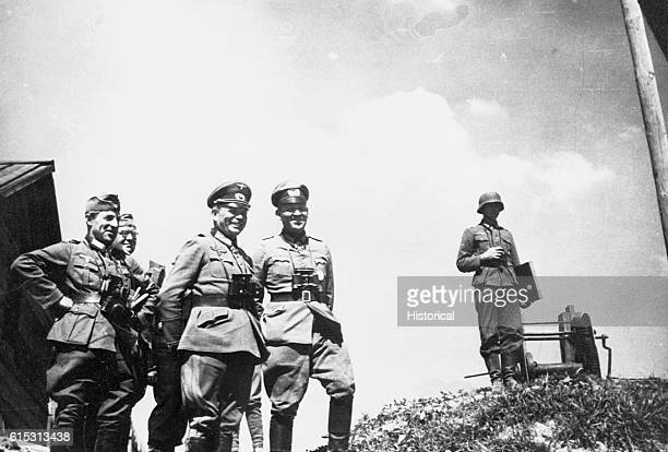 Generaloberst Guderian and a few of his officers watch a bridge in the USSR Guderian was in large part the formulator and practitioner of the...