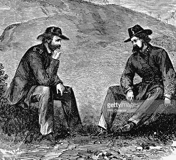 Generals Grant and Pemberton negotiating the surrender of Vicksburg American Civil War 1863 General Ulysses S Grant commander of the Union forces...