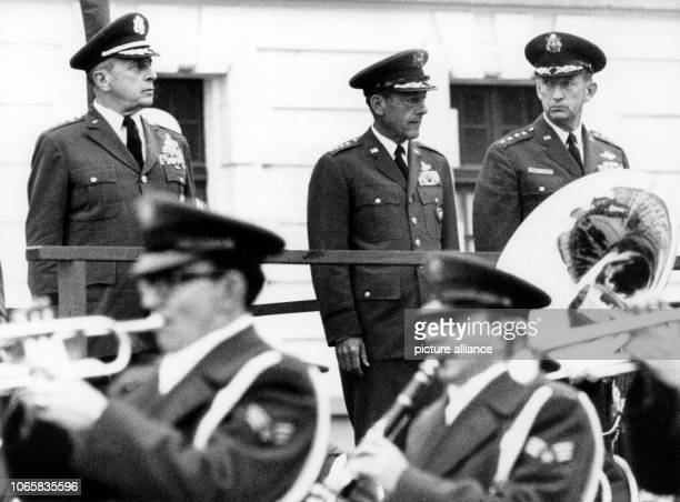 US generals Lyman L Lemnitzer Joseph Holzapple and Horace M Wade during a military parade in honor of Wade's discharge at Lindsey baracks in...