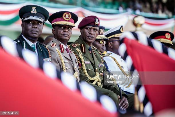 Generals of several Kenya national services attend the independence celebrations on Jamhuri Day at Kasarani stadium in Nairobi Kenya on Tuesday Dec...