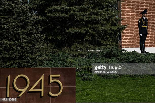 Generals views on May 7 2015 in Moscow Russia A soldier of the honor guard stays near the Eternal Flame The city of Moscow will celebrate the...
