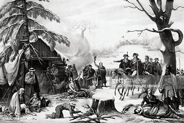 Generals Washington and Lafayette visiting the wounded in Valley Forge American Revolutionary War United States of America 18th century