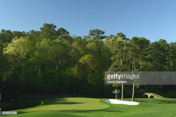 A generalview of the 11th green during the completion of the third round of The Masters at the Augusta National Golf Club on April 10 2005 in Augusta...
