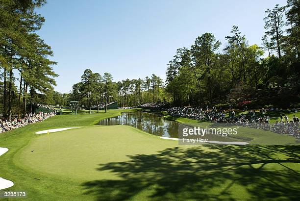 A generalview of the 16th green during the second practice day for the Masters at the Augusta National Golf Club on April 6 2004 in Augusta Georgia