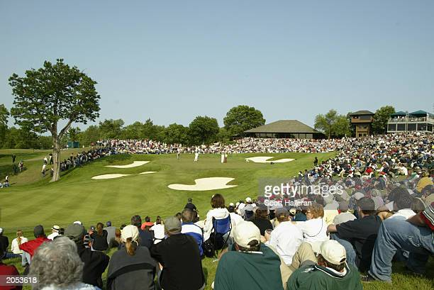 A generalview of the 18th green during the final round of The Memorial Tournament at the Muirfield Village Golf Club on June 1 2003 in Dublin Ohio
