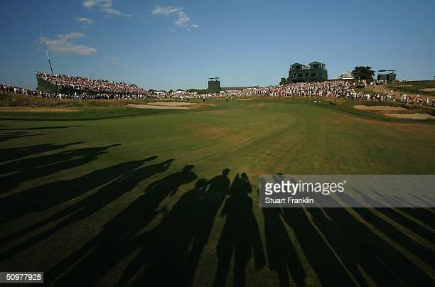 A generalview of the 18th hole during the third round the 104th US Open at Shinnecock Hills Golf Club on June 19 2004 in Southampton New York