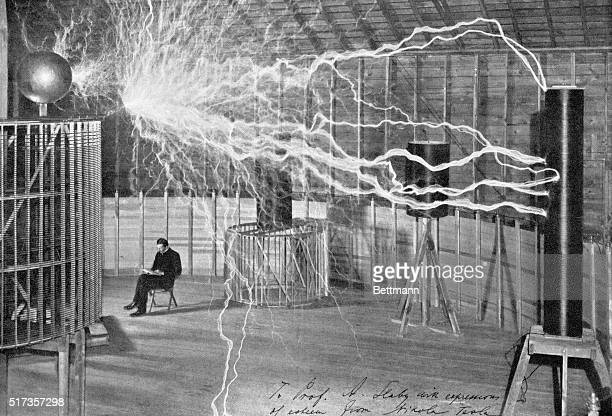 Generating artificial lightning in Nikola Tesla's laboratory Undated illustration BPA2# 1462