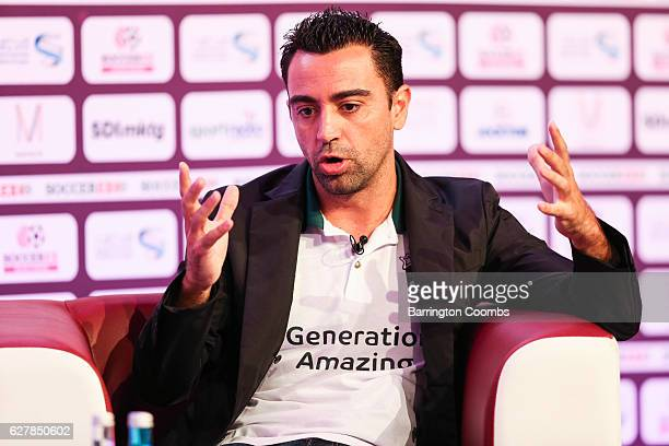 Generation Amazing ambassador Xavi Hernandez addresses delegates during day 2 of Soccerex Asia on December 5 2016 in Doha Qatar