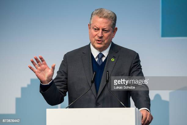 Generation Investment Management's chairperson Al Gore talks at the America's Pledge launch event at the US We Are Still In pavilion at the COP 23...