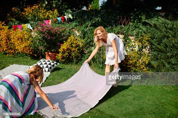 generation spring picnic - picnic blanket stock pictures, royalty-free photos & images