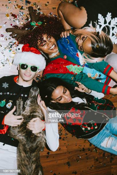 generation z friends christmas party - ugly dog stock pictures, royalty-free photos & images