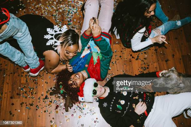 generation z friends christmas party - americas next top dog stock pictures, royalty-free photos & images