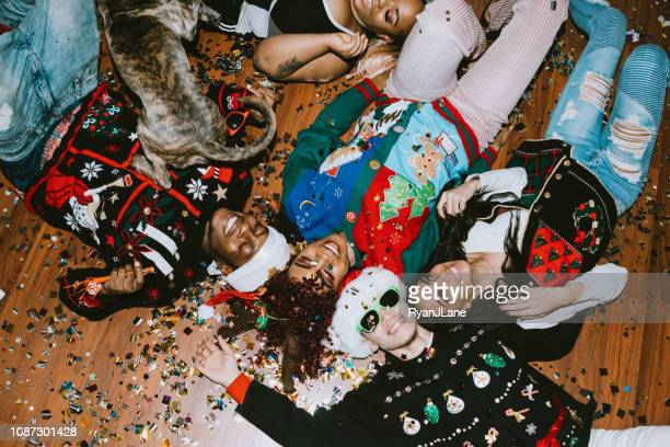 generation z friends christmas party - ugly dog stock photos and pictures
